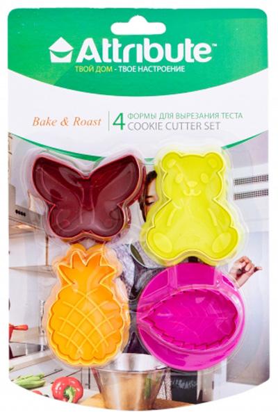 """Набор Attribute """"Cookie"""" состоит из 4 форм для вырезания теста, выполненных из пластика.  Формы можно использовать для создания печенья, сладких украшений, бутербродов, как  трафарет для украшений из бумаги и других материалов."""