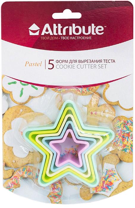 Набор форм для вырезания теста Attribute Pastel. Звезды, 5 штABP205Набор Attribute Pastel состоит из 5 форм в виде звезд для вырезания теста, выполненных из пластика. Формы можно использовать для создания печенья, сладких украшений, бутербродов, как трафарет для украшений из бумаги и других материалов.