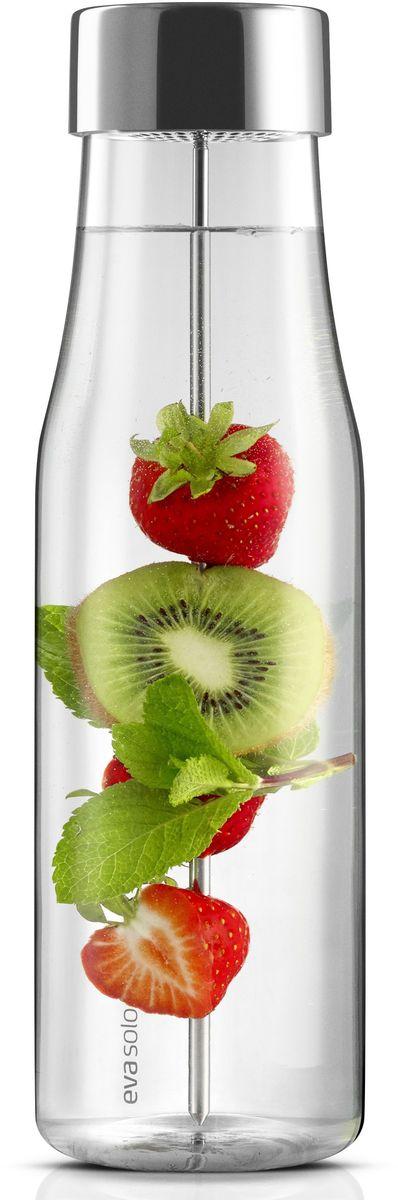 Придайте воде уникальные аромат и вкус! Элегантный графин объемом 1 литр с системой dripfree  - 100% без капель при наливании. Удобный заостренный стержень для фруктов, овощей и зелени  - отличное решение для красивой подачи любимых напитков. Графин легко умещается в дверце  холодильника, а крышечка из нержавеющей стали надежно защитит содержимое бутылки от  посторонних запахов. Идеален также для горячих напитков. Боросиликатное стекло выдерживает  температуры от -70°С до 53°С.