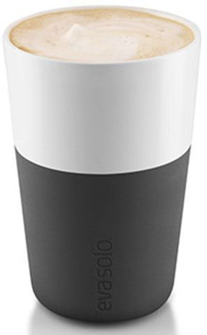 Чашки для латте Eva Solo, цвет: черный, белый, 360 мл, 2 шт eva solo набор чашек latte 360 мл синий белый
