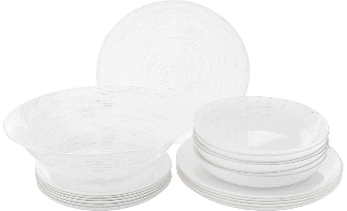 Набор столовый Luminarc Stonemania White, 19 предметовH5716Столовый набор Luminarc Stonemania White состоит из 6 суповых тарелок, 6 обеденных тарелок, 6 десертных тарелок и глубокого салатника. Изделия, выполненные из высококачественного ударопрочного стекла, имеют классическую круглую форму. Посуда отличается прочностью, гигиеничностью и долгим сроком службы, она устойчива к появлению царапин и резким перепадам температур. Такой набор прекрасно подойдет как для повседневного использования, так и для праздников или особенных случаев. Изделия можно мыть в посудомоечной машине и использовать в микроволновой печи. Диаметр суповой тарелки (по верхнему краю): 20,3 см. Высота суповой тарелки: 3,2 см. Диаметр обеденной тарелки (по верхнему краю): 25 см. Высота обеденной тарелки: 1,8 см. Диаметр десертной тарелки (по верхнему краю): 20,3 см. Высота десертной тарелки: 1,7 см. Диаметр салатника (по верхнему краю): 27 см. Высота стенки салатника: 8,3 см.