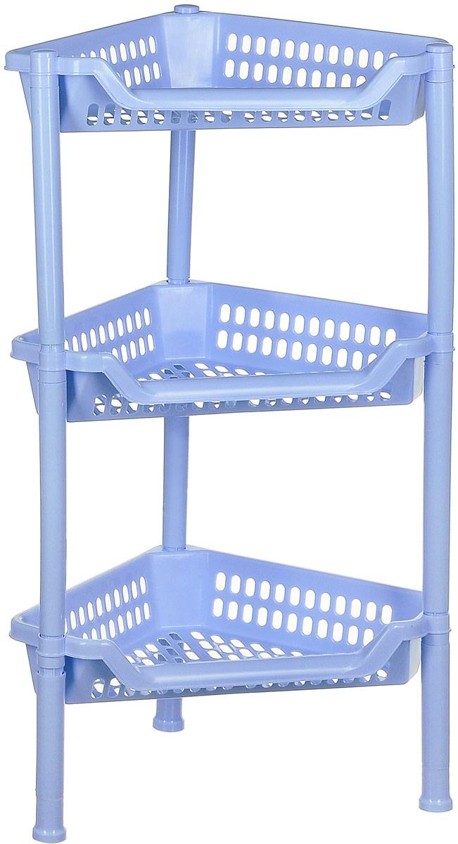 Полка угловая Idea Евро, 3-ярусная, цвет: голубой, 26,5 х 38,5 х 65 смМ 2756Трехъярусная угловая полка Евро, выполненная из пластика, сэкономит место на вашей кухне или в ванной комнате. Полка легко собирается и разбирается и не занимает много места. Она пригодится для хранения различных принадлежностей, которые всегда будут под рукой.Благодаря компактным размерам полка впишется в интерьер вашего дома и позволит вам удобно и практично хранить предметы домашнего обихода. Размер изделия: 26,5 х 38,5 х 65 см.