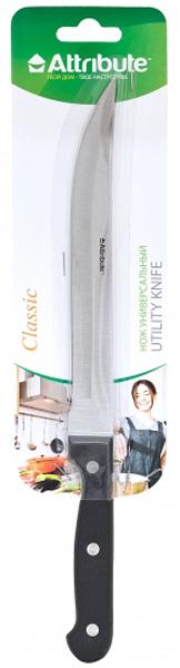 Нож универсальный Attribute Classic, длина лезвия 20 смAKP220Нож универсальный Attribute Classic прекрасно справится с нарезкой любых продуктов, а также чисткой овощей и фруктов. Лезвие ножа выполнено из нержавеющей стали, а ручка - из пластика. Удобное и острое лезвие ножа позволит шинковать и чистить продукты без усилий. Ручка обеспечит комфортную и безопасную работу. Нож можно мыть в посудомоечной машине.