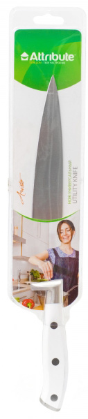 Нож универсальный Attribute Knife Aristo, длина лезвия 20 смAKA020Универсальный нож Attribute Knife Aristo предназначен для нарезки различных продуктов. Лезвие выполнено из высококачественной нержавеющей стали. Эргономичная рукоятка, выполненная из термостойкого пластика, не скользит в руках и делает нарезку удобной и безопасной. Благодаря уникальной формуле стали и качеству ее обработки, лезвие имеет высокий показатель твердости, что позволяет ему долго сохранять острую заточку.Нож Attribute Knife Aristo идеально шинкует, нарезает и измельчает продукты. Он займет достойное место среди аксессуаров на вашей кухне. Можно мыть в посудомоечной машине.Длина лезвия: 20 см.