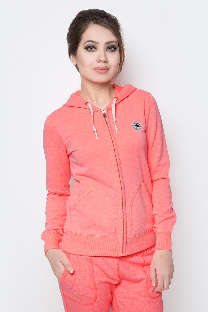 Толстовка женская Converse Knitted Women's Ls Zip Hoodie, цвет: оранжевый. 10002089830. Размер XL (50) толстовка женская columbia glacial fleece iii 1 2 zip цвет черный 1466971 010 размер xl 50