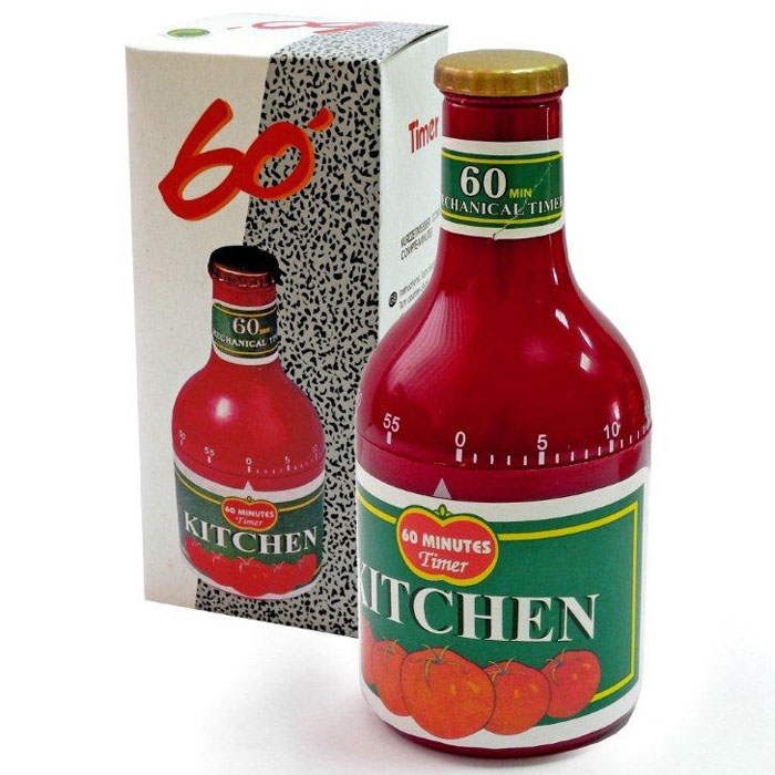 Таймер Дом и все, что в нем Кетчуп, на 60 минутT097Таймер кухонный Дом и все, что в нем изготовлен из прочного пластика в форме бутылки кетчупа. Механический таймер станет надежным помощником на кухне. Максимальное время, на которое вы можете установить таймер, составляет 60 минут. Изделие громко зазвучит, когда блюдо будет готово, поэтому вы можете себе позволить отвлечься на любимый фильм, не опасаясь, что у вас что-то подгорит или переварится.Оригинальный дизайн таймера украсит интерьер любой современной кухни.
