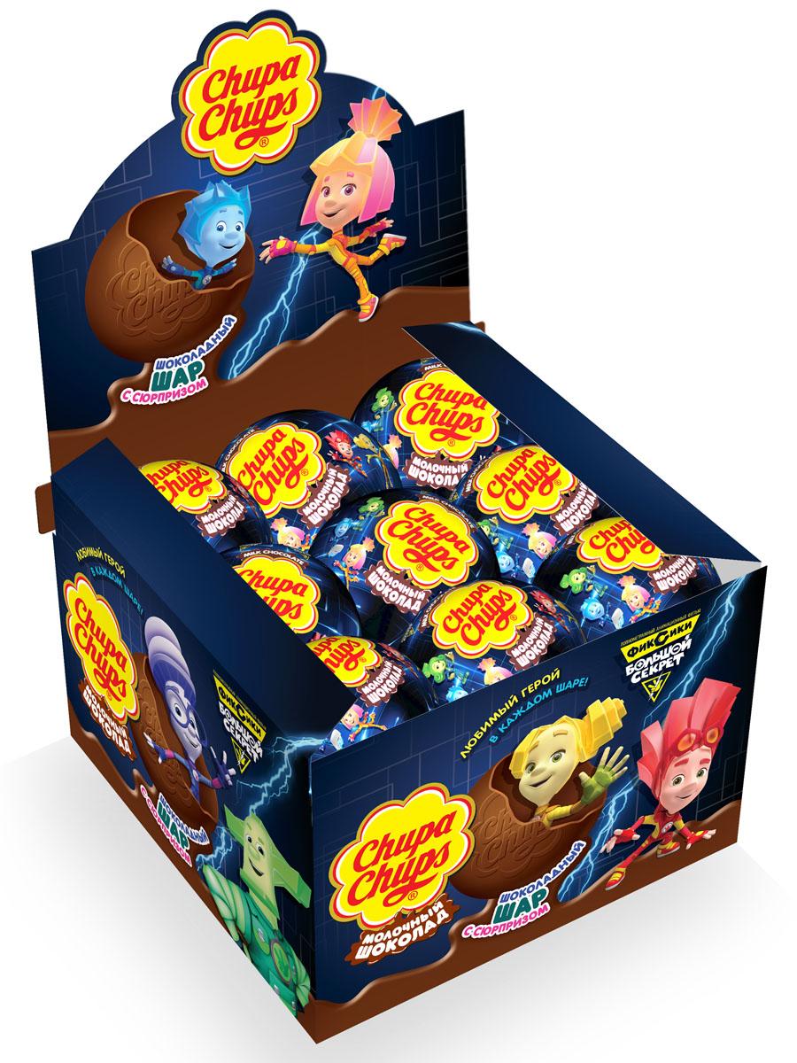 Chupa Chups Фиксики 2 молочный шоколад, 18 шт по 20 г8253251Внутри каждого шоколадного шара Chupa-Chups ты найдешь новую игрушку, а снаружи - именно такой шоколад, как ты любишь.Какая игрушка попадется тебе в этот раз? Соберите всю коллекцию и обменивайтесь с друзьями!