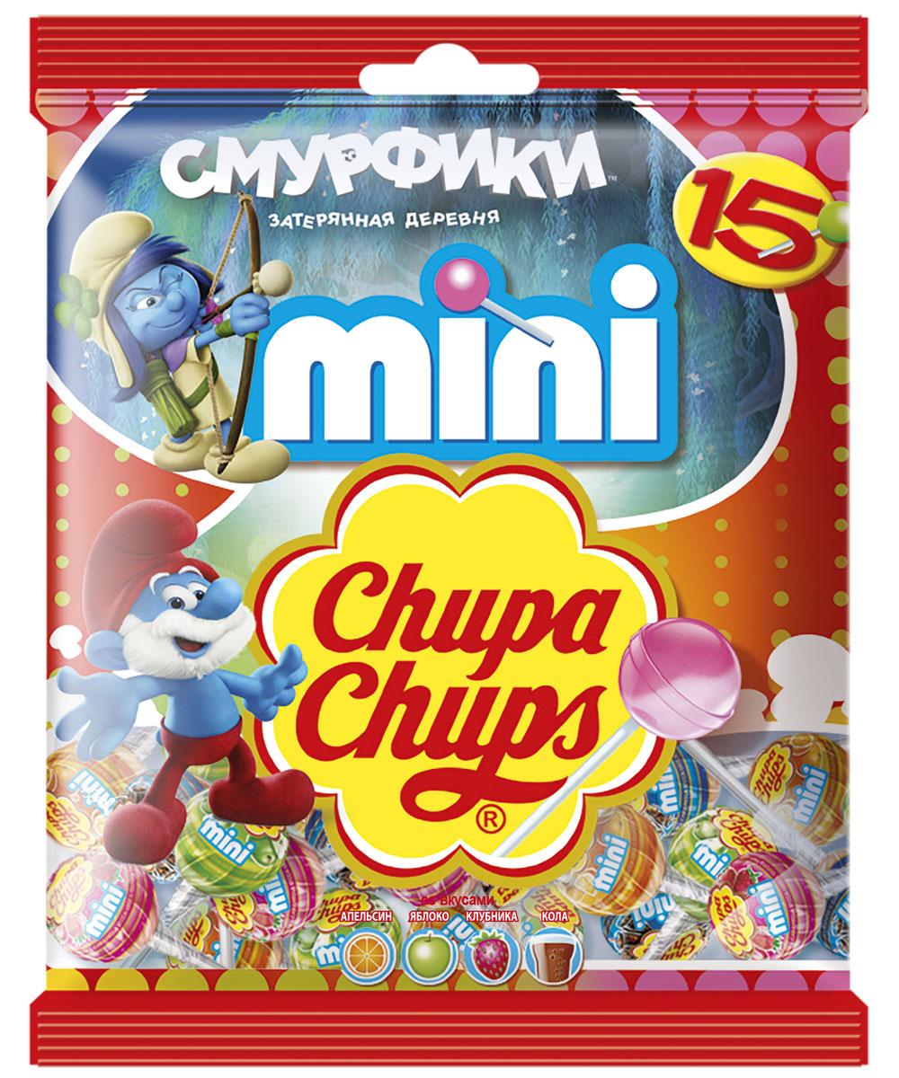Chupa Chups Смурфики 3 карамель ассорти мини с наклейками, 90 г карамель chupa chups do you love me 12г