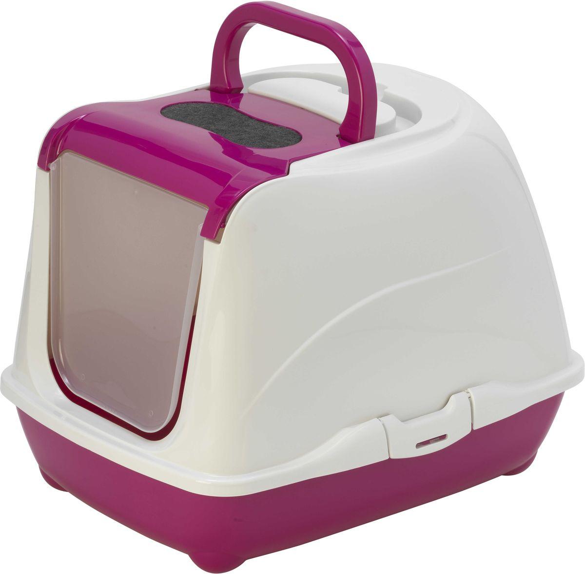 "Туалет для кошек Moderna ""Flip Cat"", закрытый, цвет: ярко-розовый, 39 х 50 х 37 см"