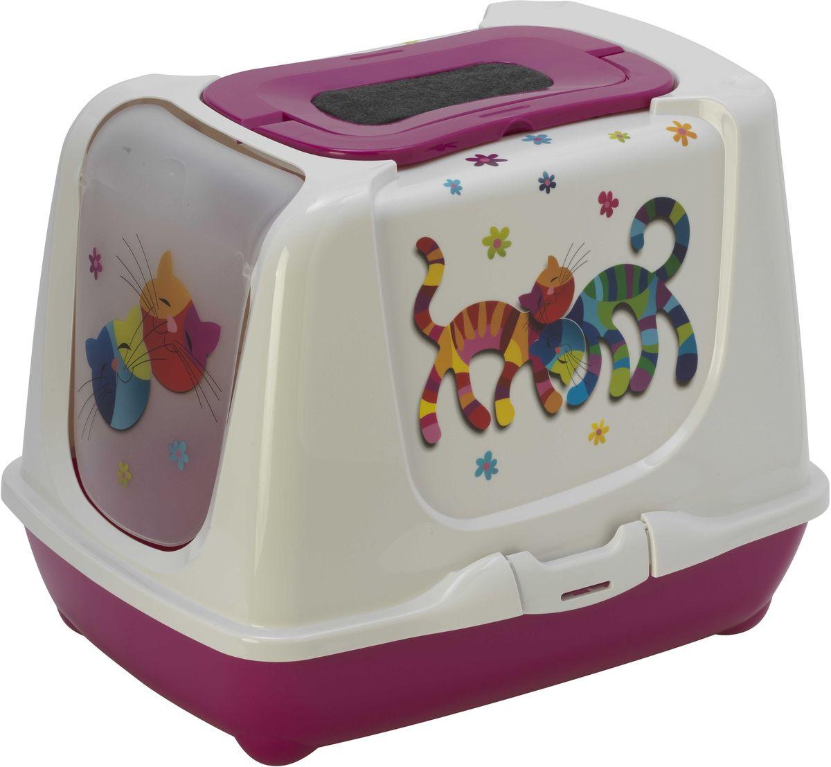 Туалет для кошек Moderna  Trendy Cat. Друзья Навсегда , закрытый, цвет: ярко-розовый, 50 х 39,5 х 37,5 см - Наполнители и туалетные принадлежности