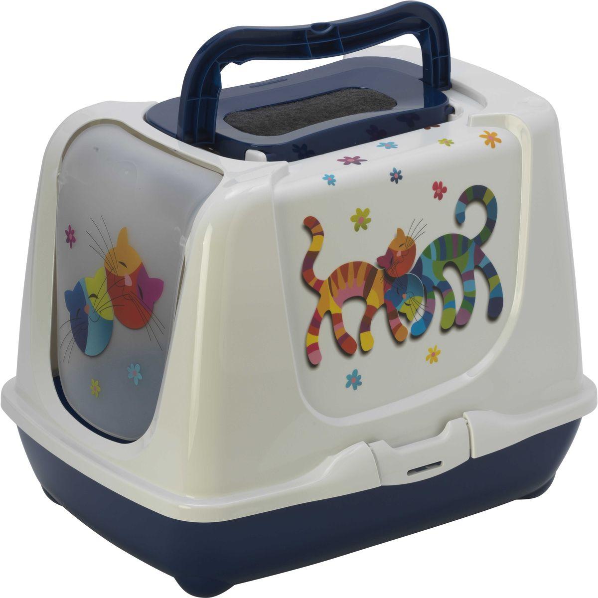 Туалет для кошек Moderna Trendy Cat. Друзья навсегда, закрытый, цвет: черничный, 50 х 39,5 х 37,5 см14C235331Закрытый туалет для кошек Trendy Cat. Друзья навсегда выполнен из высококачественного пластика. Туалет оснащен прозрачной открывающейся дверцей, сменным фильтром и удобной ручкой для переноски. Такой туалет избавит ваш дом от неприятного запаха и разбросанных повсюду частичек наполнителя. Кошка в таком туалете будет чувствовать себя увереннее, ведь в этом укромном уголке ее никто не увидит. Кроме того, яркий дизайн с легкостью впишется в интерьер вашего дома. Туалет легко открывается для чистки благодаря практичным защелкам по бокам.