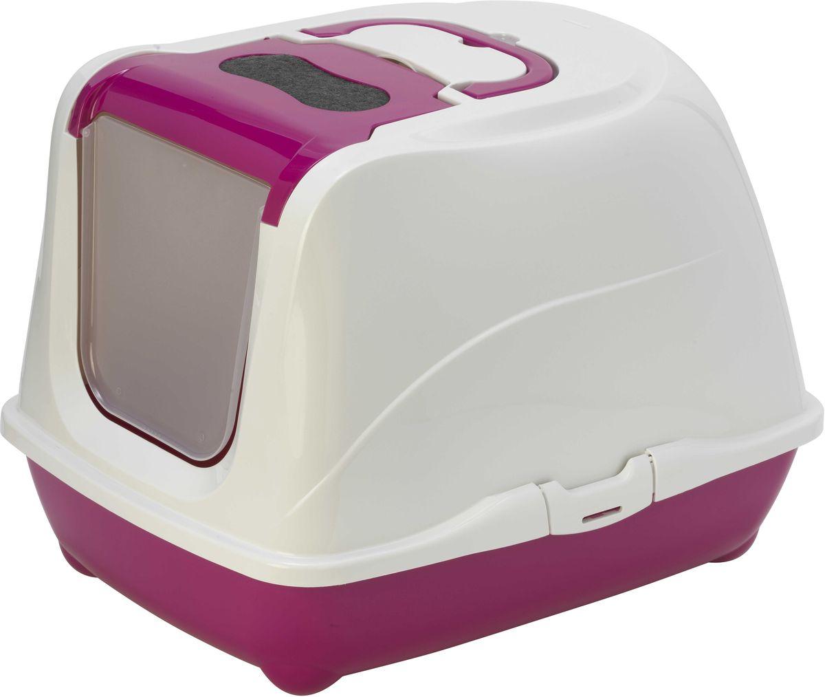 Туалет для больших кошек Moderna Flip Cat, закрытый, цвет: ярко-розовый, 58 х 45 х 42 см14C240328Закрытый туалет для кошек Flip Cat выполнен из высококачественного пластика. Туалет оснащен прозрачной открывающейся дверцей, сменным фильтром и удобной ручкой для переноски. Такой туалет избавит ваш дом от неприятного запаха и разбросанных повсюду частичек наполнителя. Кошка в таком туалете будет чувствовать себя увереннее, ведь в этом укромном уголке ее никто не увидит. Кроме того, яркий дизайн с легкостью впишется в интерьер вашего дома. Туалет легко открывается для чистки благодаря практичным защелкам по бокам.