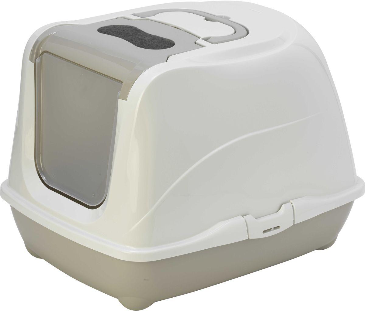 Туалет для больших кошек Moderna  Flip Cat , закрытый , цвет: светло-серый, 58 х 45 х 42 см - Наполнители и туалетные принадлежности