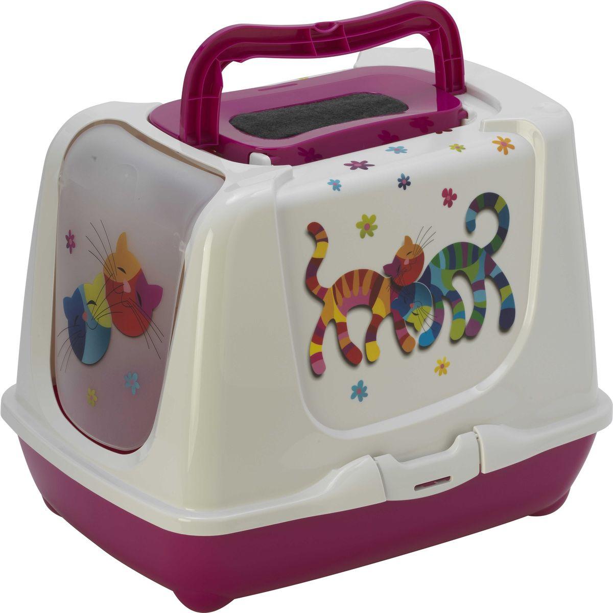 Туалет для кошек Moderna  Trendy Cat. Друзья навсегда , закрытый, цвет: ярко-розовый, 57 х 45 х 42,6 см - Наполнители и туалетные принадлежности