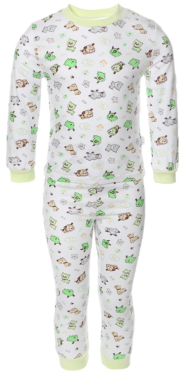 Пижама для мальчика Веселый малыш, цвет: зеленый. 9317-K (1). Размер 1169317Пижама для мальчика Веселый малыш выполнена из качественного материала и состоит из лонгслива и брюк. Лонгслив с длинными рукавами и круглым вырезом горловины. Брюки понизу дополнены манжетами.