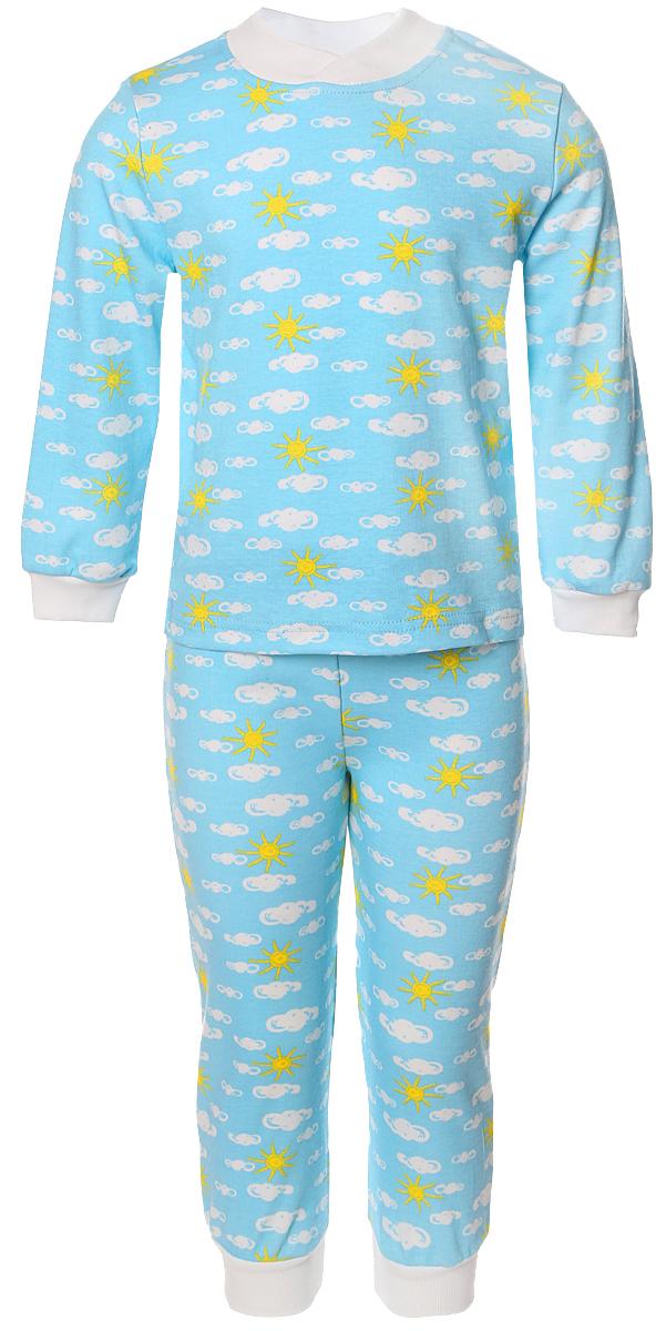 Пижама для мальчика Веселый малыш, цвет: голубой. 9215-J (1). Размер 1109215Пижама для мальчика Веселый малыш выполнена из качественного материала и состоит из лонгслива и брюк. Лонгслив с длинными рукавами и круглым вырезом горловины. Брюки понизу дополнены манжета