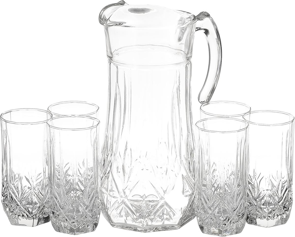 Набор питьевой Luminarc Брайтон, 7 предметов61955Питьевой набор Luminarc Florine состоит из 6 стаканови графина. Изделия выполнены из высококачественного прочного стекла и оформлены рельефным узором. Набор прекрасно подходит для сока, воды, лимонада и других напитков. Изделия устойчивы к повреждениям и истиранию, в процессе эксплуатации не впитывают запахи и сохраняют первоначальные краски. Можномыть в посудомоечной машине. Объем кувшина: 1,8 л. Диаметр кувшина по верхнему краю: 10,5 см. Высота кувшина: 26,5 см. Объем стакана: 310 мл. Диаметр стакана по верхнему краю: 6 см. Высота стакана: 13,5 см.