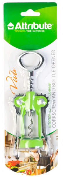"""Штопор Attribute """"Viva Grey-Green"""" используется для открывания бутылок с пробками. Штопор имеет рычажный механизм с """"крыльями"""", который позволяет легко без усилий открыть  любую бутылку. Изделие выполнено из нержавеющей стали и пластика."""