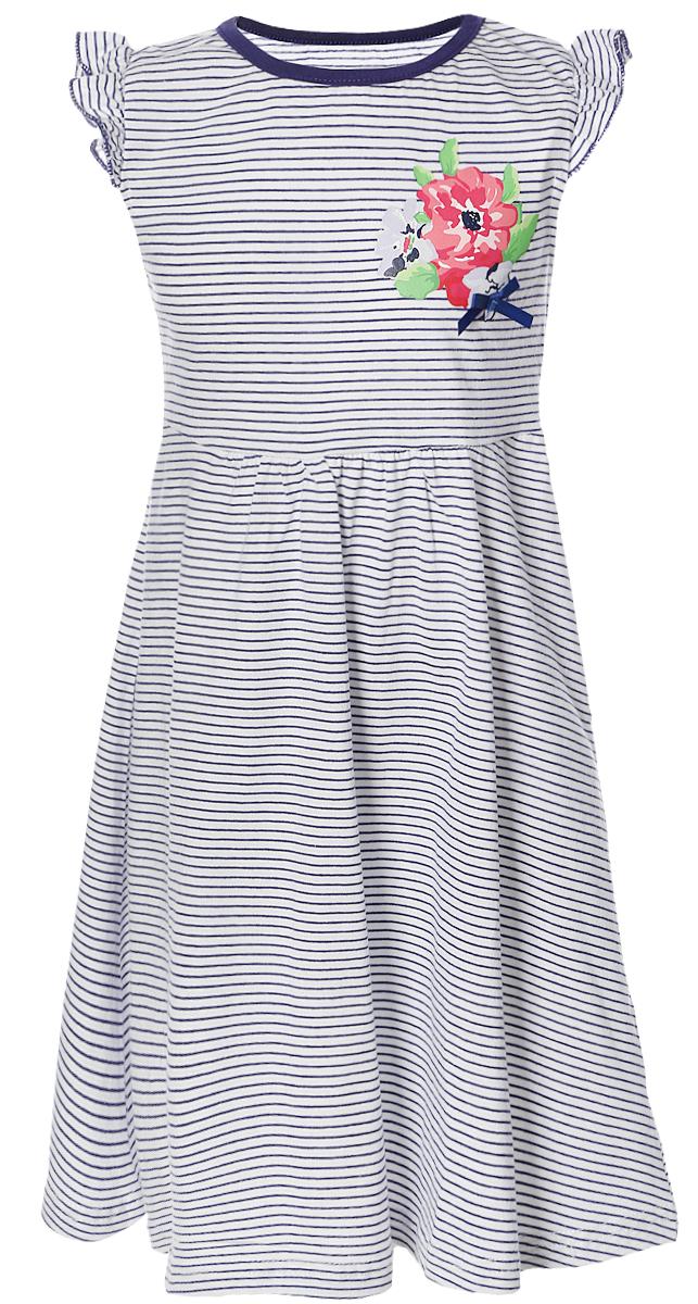 Платье для девочки PlayToday, цвет: белый, синий. 252014. Размер 98252014Платье для девочки PlayToday выполнено из натурального хлопка. Модель с круглым вырезом горловины оформлена оригинальным принтом.