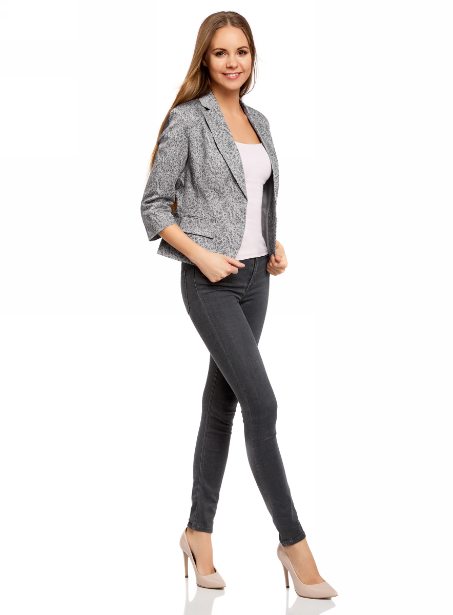 Жакет женский oodji Collection, цвет: серый. 21203085-1B/14522/2340E. Размер 36-164 (42-164)