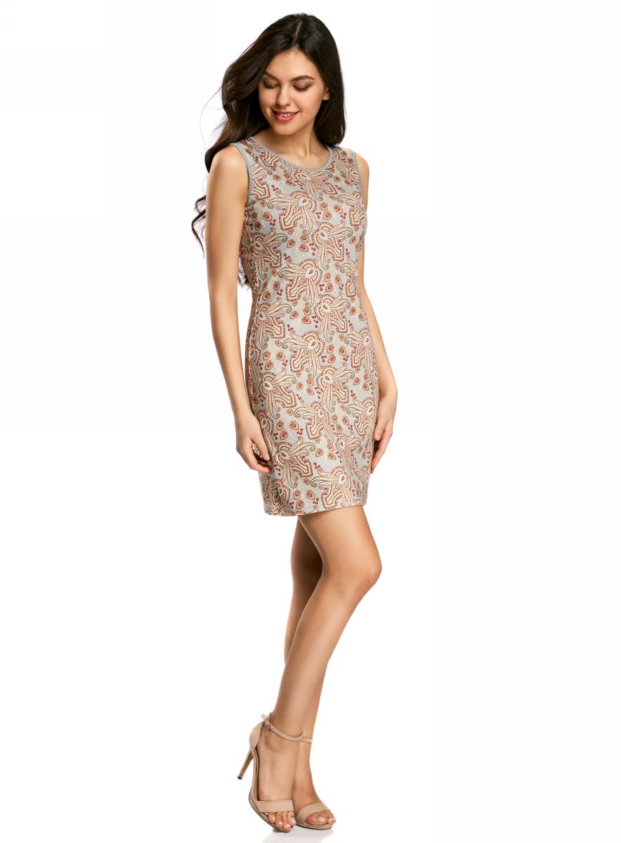 Платье oodji Collection, цвет: серый, терракотовый. 24005126-2/18610/2331E. Размер XL (50)24005126-2/18610/2331EПлатье от oodji облегающего силуэта выполнено из высококачественного трикотажа. Модель без рукавов на спинке застегивается на потайную застежку-молнию.