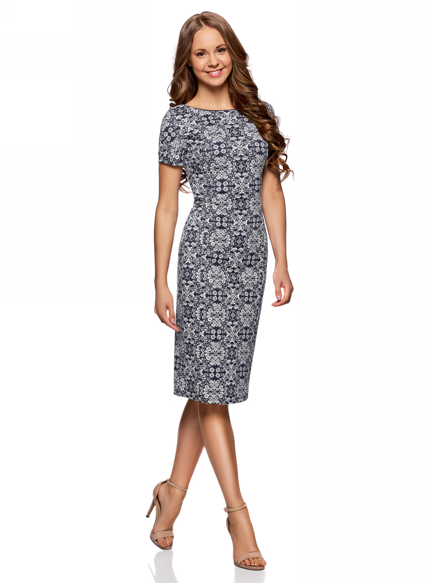 Платье oodji Ultra, цвет: темно-синий, белый. 14018001-1/45396/7912E. Размер L (48) платье oodji collection цвет черный белый 24001104 1 35477 1079s размер l 48