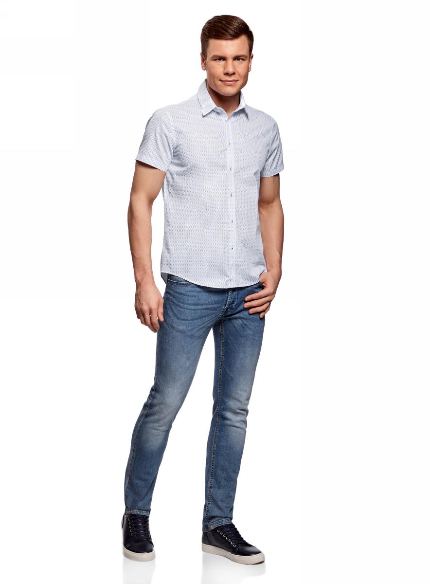 Рубашка мужская oodji Lab, цвет: белый, синий. 3L210046M/44425N/1075G. Размер 39-182 (46-182)3L210046M/44425N/1075GМужская рубашка от oodji выполнена из натурального хлопка. Модель приталенного кроя с короткими рукавами и двойным воротником застегивается на пуговицы.