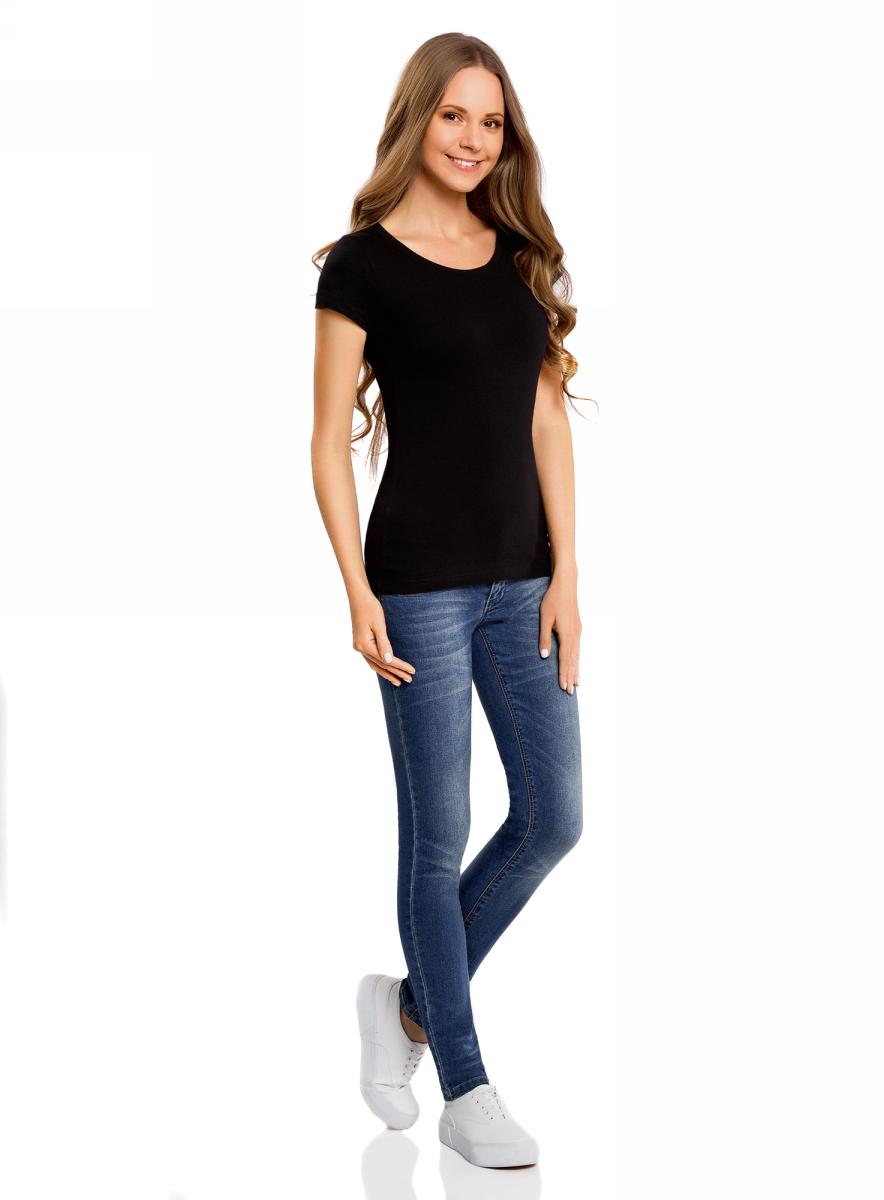 Футболка женская oodji Ultra, цвет: черный. 14701008B/46154/2900N. Размер XS (42)14701008B/46154/2900NМодная женская футболка oodji Ultra изготовлена из натурального хлопка.Модель с круглым вырезом горловины и короткими рукавами выполнена в лаконичном дизайне.
