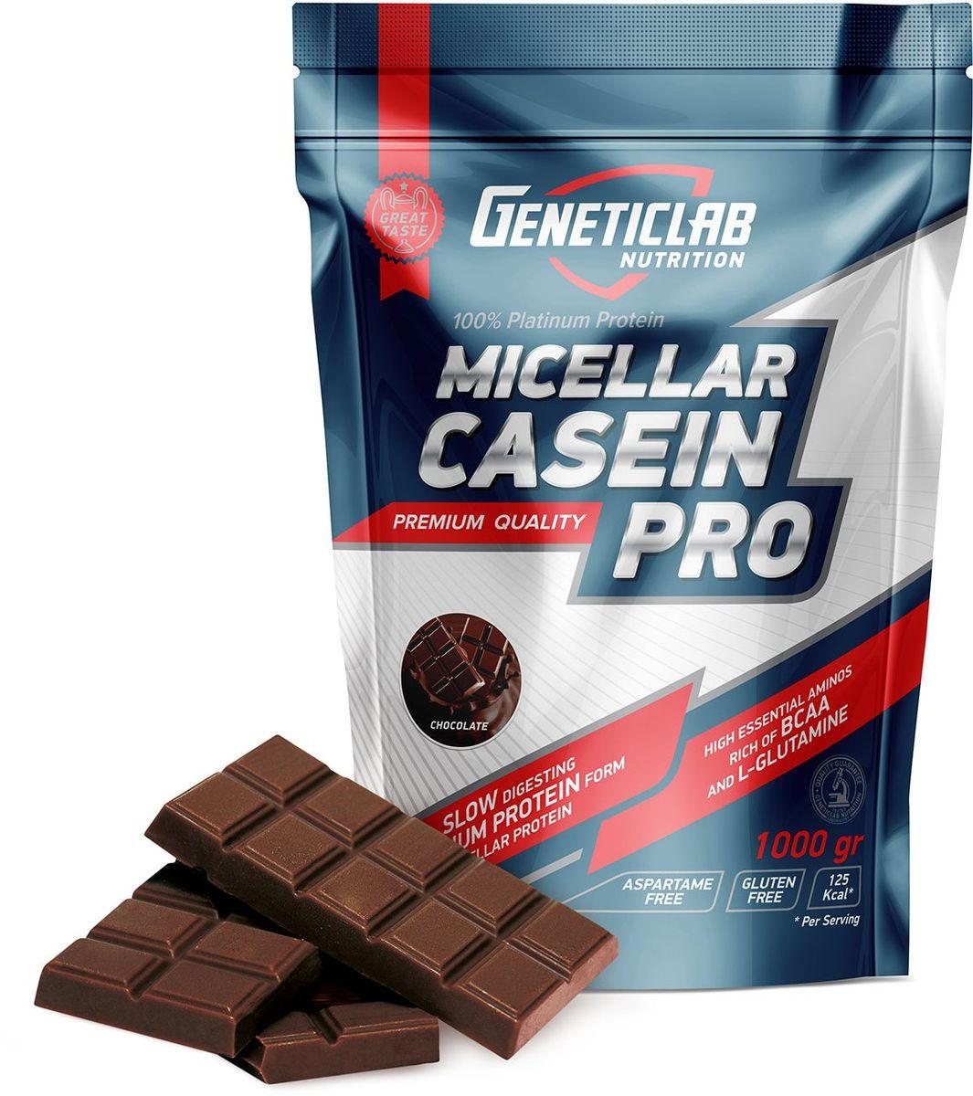 Протеин Geneticlab Casein Pro, шоколад, 1 кг аминокислоты geneticlab аминокислоты bcaa pro груша 500 гр