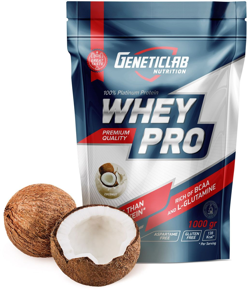 Протеин сывороточный Geneticlab Whey Pro, кокос, 1 кг сывороточный протеин bbb whey classic банан 70% белка и bcaa 1 кг