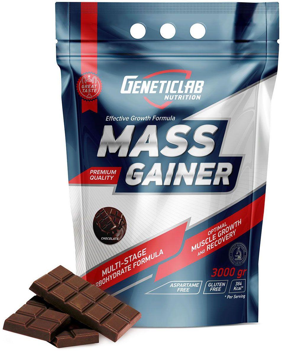 Гейнер Geneticlab Mass Gainer, шоколад, 3 кг4156679Гейнер Geneticlab Mass Gainer предназначен для профессиональных спортсменов, также отлично подойдет для тех, кто хочет набрать мышечную массу и сформировать красивый рельеф тела. Гейнер содержит оптимальное количество чистого белка и углеводов, чтобы восполнить энергию после тренировок, а также обеспечивает чувство сытости на длительное время.Препарат восстанавливает потерянные на тренировке питательные вещества (в том числе белок для строения мышц), аминокислоты и энергию.Как повысить эффективность тренировок с помощью спортивного питания? Статья OZON Гид