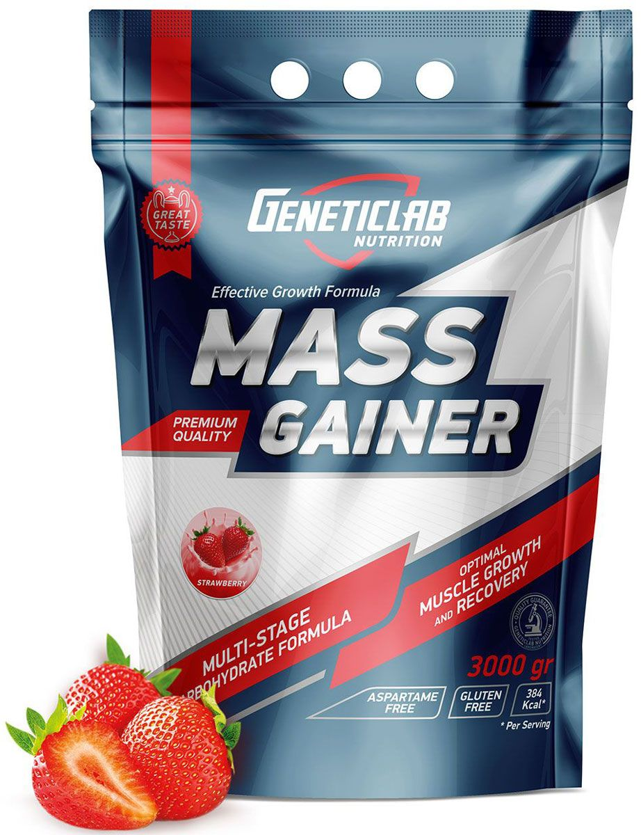 Гейнер Geneticlab Mass Gainer, клубника, 3 кг гейнер geneticlab nutrition mass gainer шоколад 1000 г