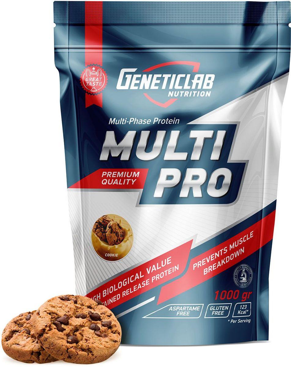 Протеин Geneticlab Multi Pro, печенье, 1 кг1370757Протеин Geneticlab Multi Pro защищает организм от катаболизма, дает чувство насыщения, улучшает восстановление, обмен веществ и положительно сказывается на всех системах организма. Multi Pro объединяет в себе несколько видов протеина на основе растительных и животных белков (казеин, яичный белок, сывороточный белок). Благодаря такому сочетанию, вы получите спортивное питание с максимальной концентрацией аминокислот (в том числе L-лейцин, L-изолейцин, L-валин), которое обеспечивают мышцы необходимыми полезными веществами длительный период времени.Как повысить эффективность тренировок с помощью спортивного питания? Статья OZON Гид