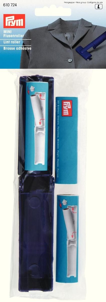 Ролик для удаления ворсинок Prym Mini, цвет: белый, темно-синий липкая лента bondage tape