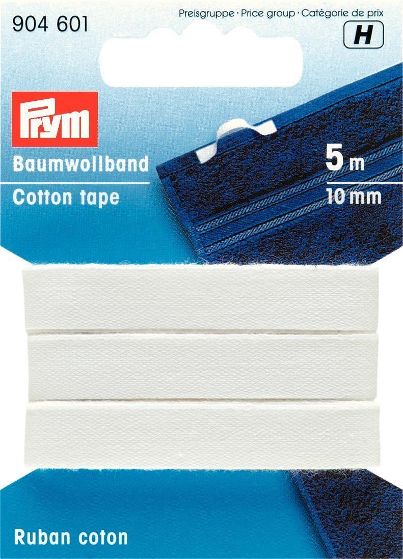 Лента-тесьма неэластичная Prym, цвет: белый, 10 мм, 5 м904601