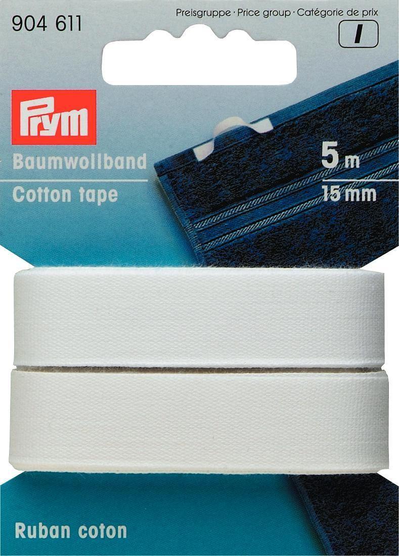 Лента-тесьма неэластичная Prym, цвет: белый, 15 мм, 5 м904611