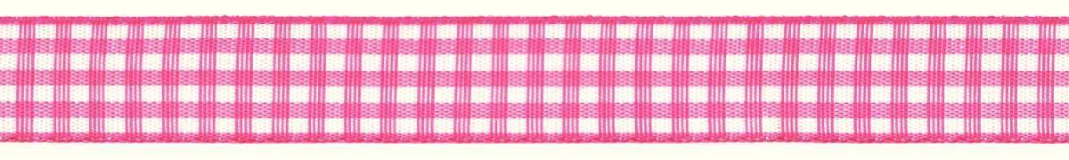 Лента декоративная Prym Клетка, цвет: белый, розовый, 15 мм, 3 м907351Лента для украшения, поделок, оформления и упаковки подарков