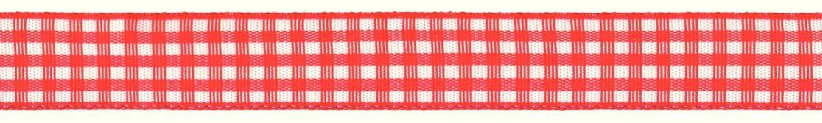 Лента декоративная Prym Клетка, цвет: белый, красный, 15 мм, 3 м907352Лента для украшения, поделок, оформления и упаковки подарков