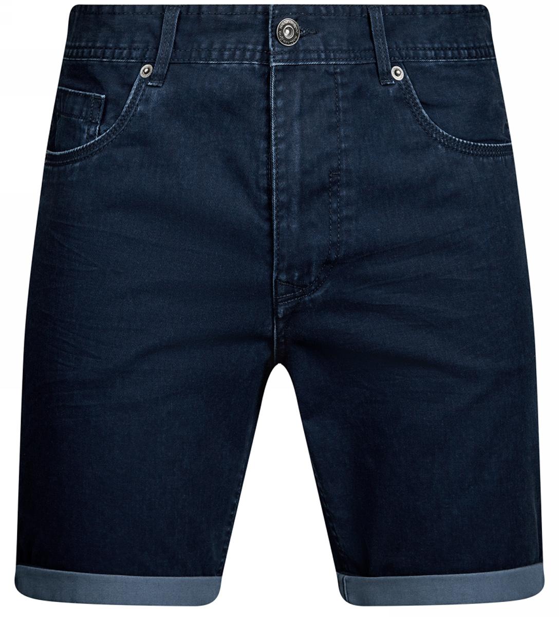 Шорты мужские oodji Lab, цвет: темно-синий, синий джинс. 2L710018M/44216N/7975W. Размер 36-182 (44-182)2L710018M/44216N/7975WСтильные мужские шорты oodji Lab изготовлены из плотного высококачественного материала (100% хлопка). Модель застегивается на пуговицу и ширинку на застежке-молнии, имеются шлевки для ремня. Спереди модель дополнена двумя втачными карманами и одним небольшим накладным кармашком, а сзади - двумя накладными карманами.