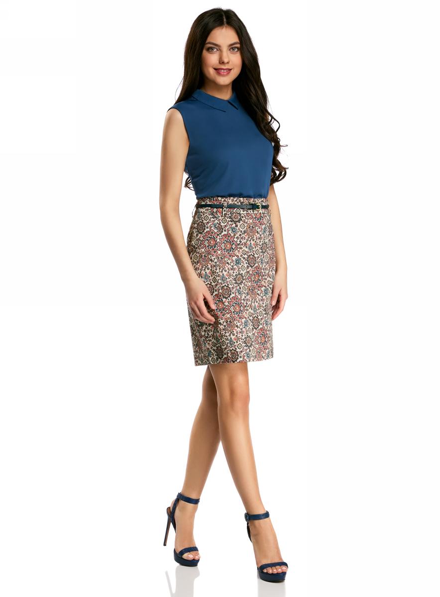 Юбка oodji Collection, цвет: розовый, синий. 21601273-1B/14522/4175E. Размер 42-170 (48-170) платье oodji collection цвет черный белый 24001104 1 35477 1079s размер l 48