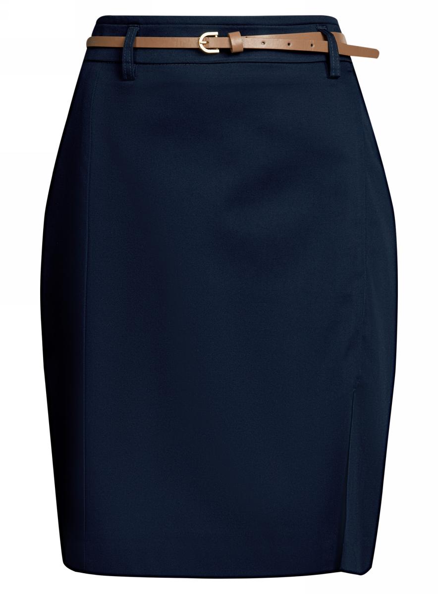 Юбка oodji Collection, цвет: темно-синий. 21601273-2B/42307/7900N. Размер 42-170 (48-170)21601273-2B/42307/7900NЮбка-карандаш oodji Collection выполнена из хлопка с добавлением эластана и оформлена небольшим разрезом спереди. Подкладка изделия изготовлена из тонкой гладкой ткани. Юбказастегивается сзади на скрытую молнию и дополнена узким ремешком на шлевках. Модель подойдет для офиса и дружеских встреч и выгодно подчеркнет достоинства фигуры.