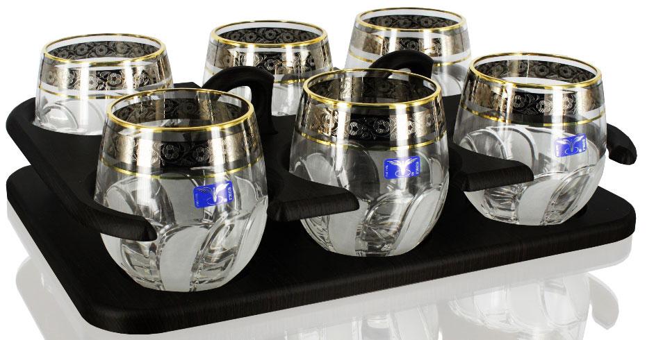 Набор стаканов для виски Гусь-Хрустальный Флорис, на подставке, 300 мл, 6 шт набор бокалов для бренди гусь хрустальный флорис на подставке 400 мл 6 шт