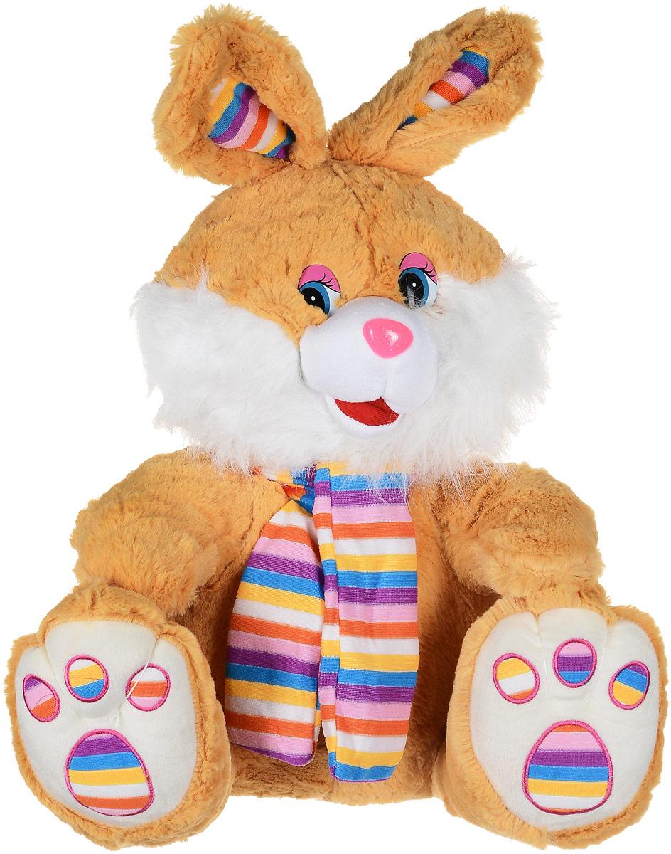 Magic Bear Toys Мягкая игрушка Заяц в ярком шарфе цвет светло-коричневый 50 см мягкая игрушка magic bear toys тигр 60 см