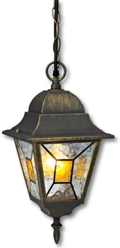 """Подвесной садовый светильник на цепочке Duwi """"Crespo"""" в классическом стиле изготовлен из устойчивого к коррозии алюминиевого сплава и покрашен в черный цвет с золотым напылением. Фонарь выполнен из витражного стекла """"wave glass"""" с цветными элементами мозаики. Изделие обладает высокой степенью пыле- и влагозащищенности IP44. Задняя крышка снабжена уплотнителем, который надежно защищает электропроводку от внешних воздействий. Изделие имеет монтажный разъем для легкого и быстрого подключения. Возможность использования с любыми лампами, имеющими цоколь E27 (накаливания, энергосберегающими, светодиодными). Светильник работает от сети 220 В. Светильники Duwi """"Crespo"""" - идеальное решение для декоративного освещения летних домиков, беседок или садовых дорожек. Садово-парковые светильники под брендом DUWI изготавливаются в соответствии со строгими европейскими стандартами качества."""