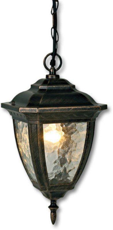 """Подвесной садовый светильник на цепочке Duwi """"Marseille"""" имеет классический дизайн с элементами изысканности. Корпус изготовлен из устойчивого к коррозии алюминиевого сплава и окрашен в цвет золотая умбра. Плафон на широком каркасе имеет увеличенный размер. Необычная структура стекла """"волна"""" мягко рассеивает свет.  Задняя крышка снабжена уплотнителем, который надежно защищает электропроводку от внешних воздействий. Изделие имеет монтажный разъем для легкого и быстрого подключения. Возможность использования с любыми лампами, имеющими цоколь E27 (накаливания, энергосберегающими, светодиодными). Светильник работает от сети 220 В, обладает высокой степенью пыле- и влагозащищенности IP44.  Светильники Duwi """"Marseille"""" - идеальное решение для декоративного освещения летних домиков, беседок или садовых дорожек.  Садово-парковые светильники под брендом DUWI изготавливаются в соответствии со строгими европейскими стандартами качества."""