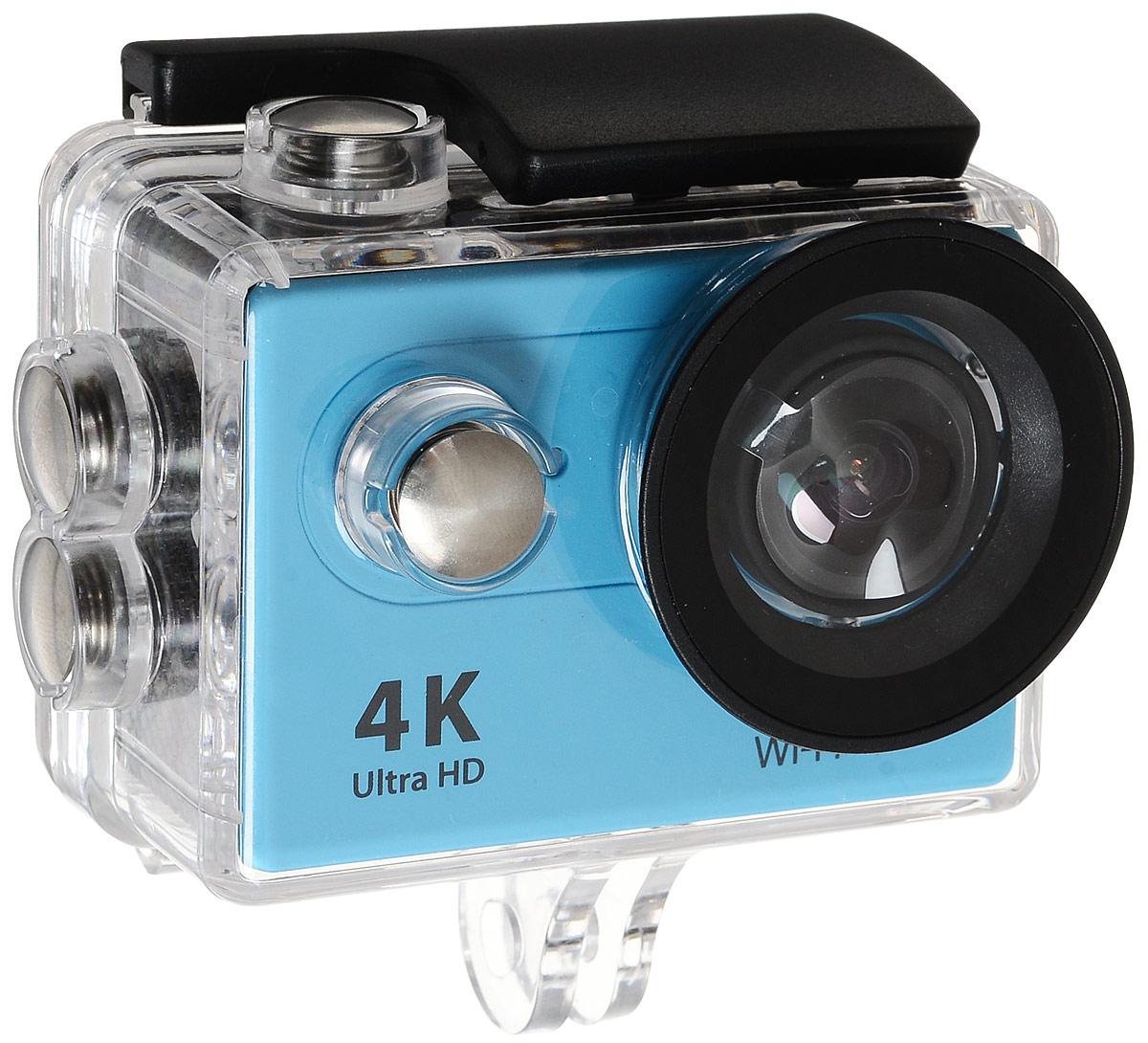 Eken H9R Ultra HD, Blue экшн-камераH9R BLUEЭкшн-камера Eken H9R Ultra HD позволяет записывать видео с разрешением 4К и очень плавным изображением до 30 кадров в секунду. Камера оснащена 2 TFT LCD экраном. Эта модель сделана для любителей спорта на улице, подводного плавания, скейтбординга, скай-дайвинга, скалолазания, бега или охоты. Снимайте с руки, на велосипеде, в машине и где угодно. По сравнению с предыдущими версиями, в Eken H9R Ultra HD вы найдете уменьшенные размеры корпуса, увеличенный до 2-х дюймов экран, невероятную оптику и фантастическое разрешение изображения при съемке 30 кадров в секунду!Управляйте вашей H9R на своем смартфоне или планшете. Приложение Ez iCam App позволяет работать с браузером и наблюдать все то, что видит ваша камера. В комплекте с камерой идет пульт ДУ работающий на частоте 2,4 ГГц. Он позволяет начинать и заканчивать съемку удаленно.Как выбрать экшн-камеру. Статья OZON Гид