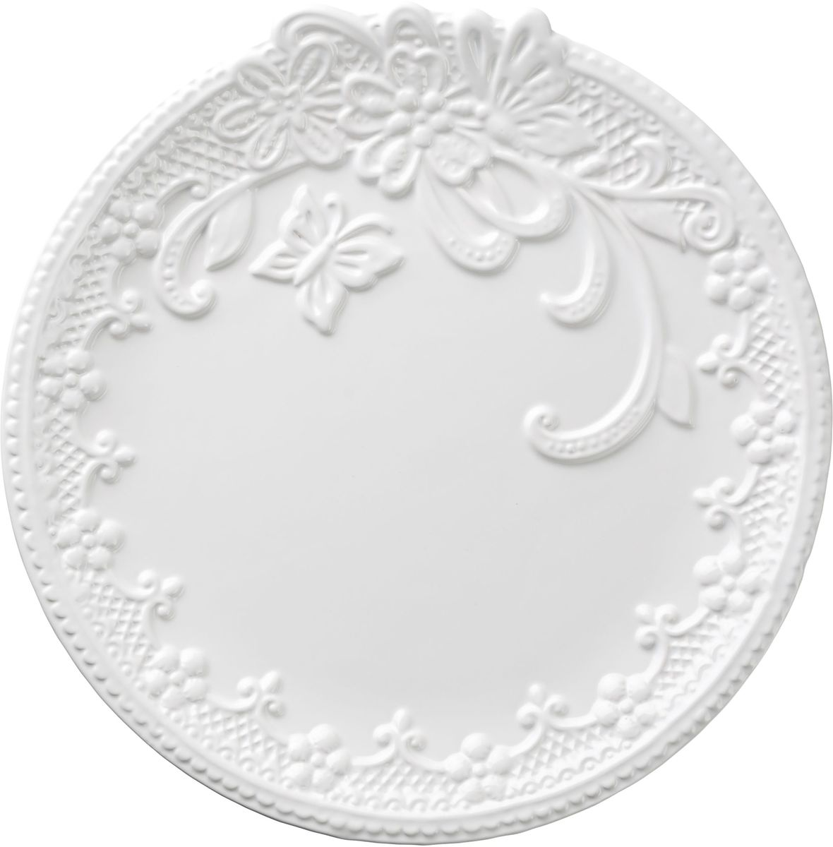 Тарелка Vetta Бабочка, диаметр 26 см824783Тарелка Бабочка, выполненная из высококачественной керамики белого цвета, украшена рельефным рисунком в виде узоров, бабочек и цветов. Такая тарелка прекрасно подойдет как для торжественных случаев, так и для повседневного использования. Идеальна для подачи вторых блюд. Тарелка Бабочка прекрасно оформит стол и станет отличным дополнением к вашей коллекции кухонной посуды.