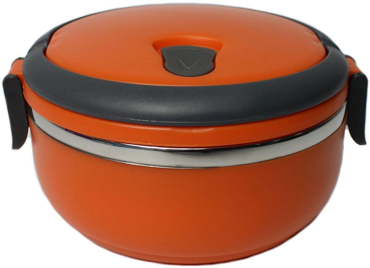 Ланч-бокс Vetta, цвет: оранжевый, серый, 700 мл841710Ланч-бокс Vetta, изготовленный из безопасных материалов, сохраняет полезные свойства продуктов. Внутренняя емкость выполнена из нержавеющей стали. Снаружи ланч-бокс отделан гигиеничным, приятным на ощупь пластиком. Крышка снабжена резиновым уплотнителем и пластиковым защелками, что обеспечивает герметичность. На крышке также имеется специальное отверстие для выпуска пара, которое закрывается силиконовым клапаном. Также крышка укомплектована удобными для переноски ручками. Такой удобный и современный ланч-бокс позволит взять еду с собой и вкусно пообедать на работе или учебе. Нельзя использовать в микроволновой печи. Можно ставить в холодильник. Диаметр: 14 см. Высота стенки (без учета крышки): 7 см. Высота стенки (с учетом крышки): 9,5 см.
