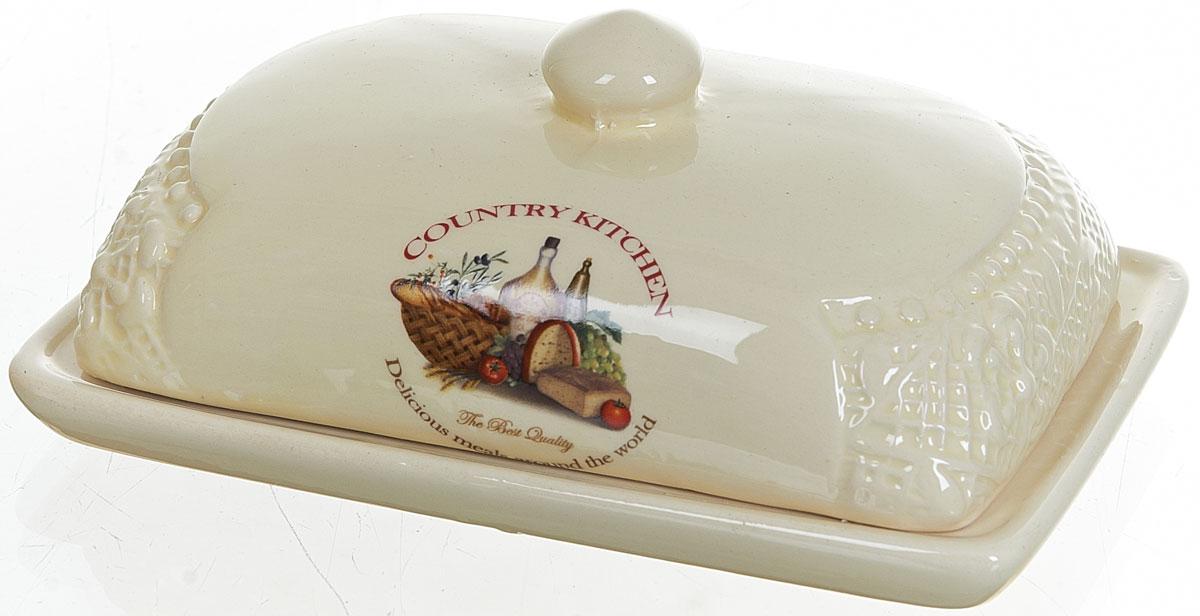 Масленка Polystar Country Kitchen, цвет: бежевыйL0210032Масленка Polystar Country Kitchen выполнена из высококачественной керамики в виде подноса с крышкой. Изделие оформлено оригинальным рисунком и имеет изысканный внешний вид. Масленка предназначена для красивой сервировки стола и хранения масла.