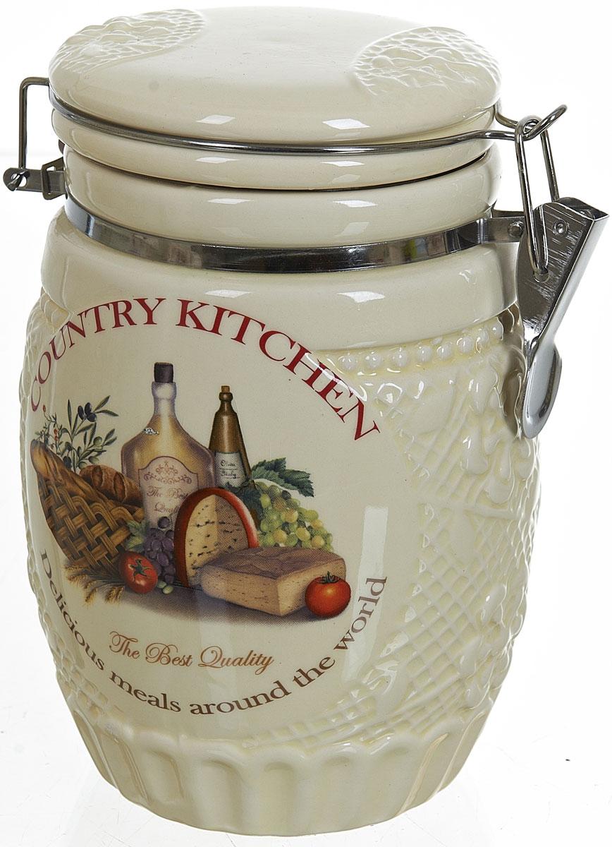 Банка для сыпучих продуктов Polystar Country Kitchen, 1,04 лL0210040Банка для сыпучих продуктов Country Kitchen изготовлена из прочной керамики, закрывается крышкой. Банка прекрасно подойдет для хранения различных сыпучих продуктов: чая, кофе, сахара, круп и многого другого. Благодаря силиконовой прослойке и бугельному замку, крышка герметично закрывается, что позволяет дольше сохранять продукты свежими.Изящная емкость не только поможет хранить разнообразные сыпучие продукты, но и стильно дополнит интерьер кухни.
